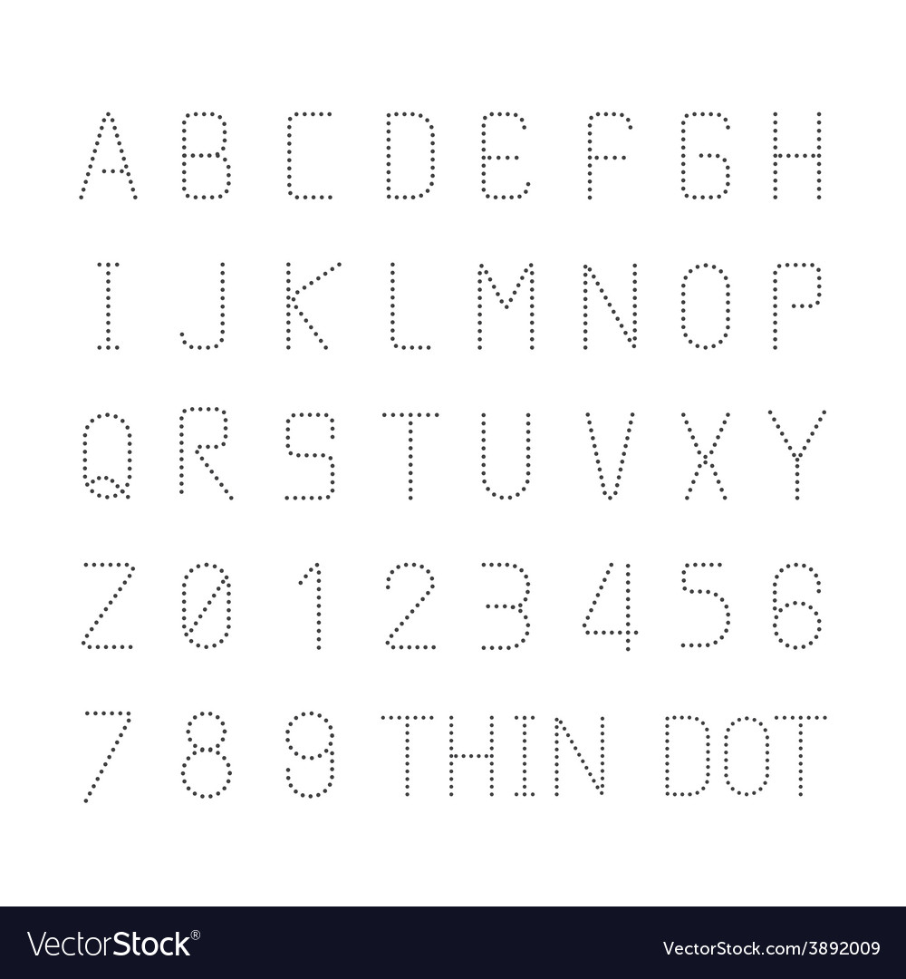 Font thin dot alphabet character style design set Vector Image