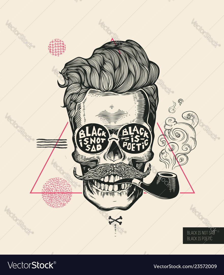 Hipster hair skull smoke pipe poster print