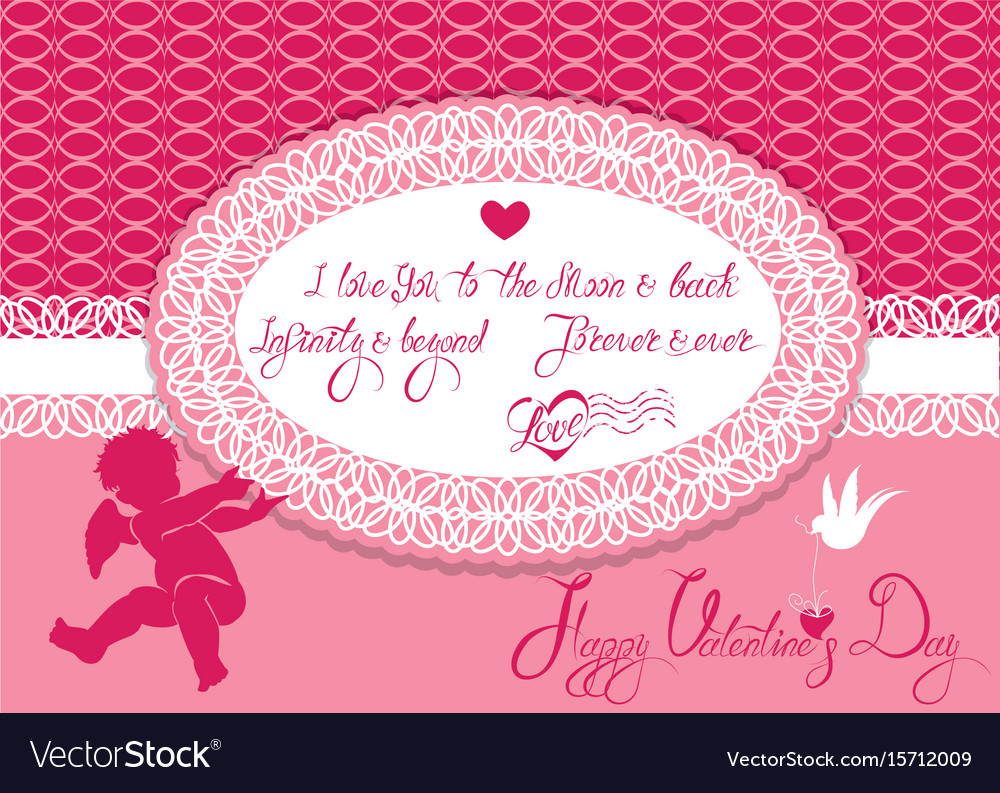 Horizontal holiday card with cute angel and oval vector image