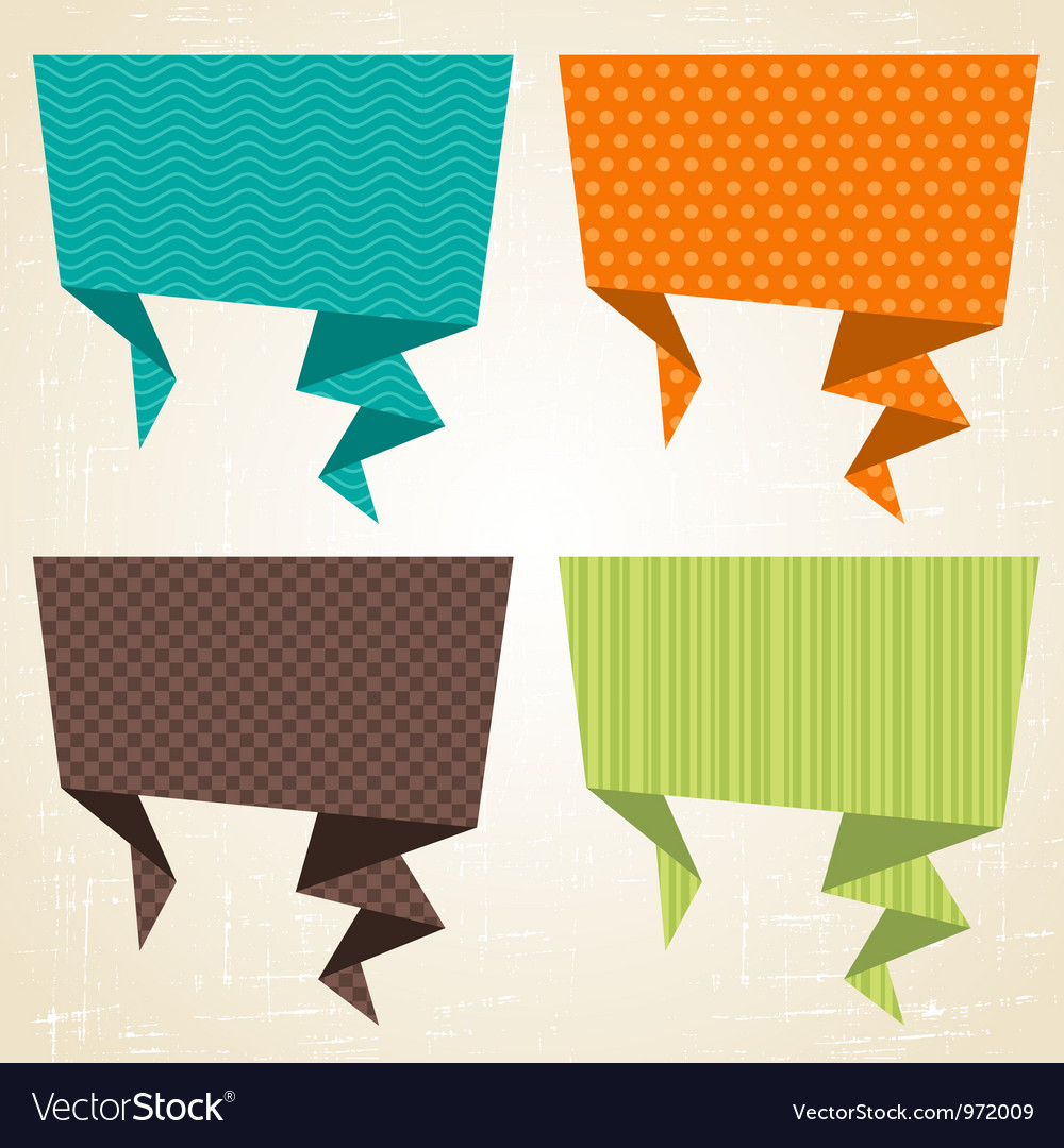 Origami background Banner and speech bubbles