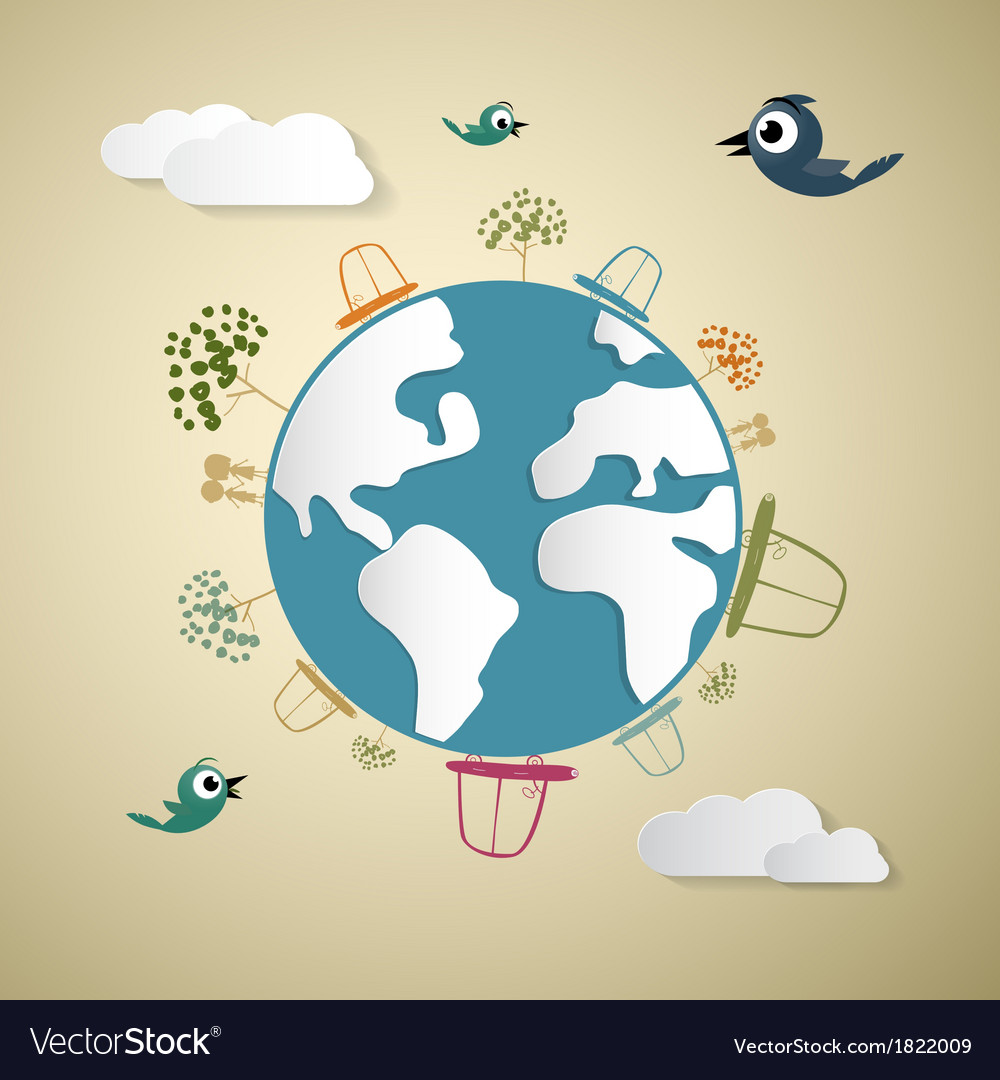 Paper Cars Clouds Trees Birds on Earth Globe