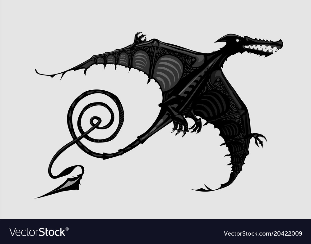 Pterodactyl silhouette isolated on white black