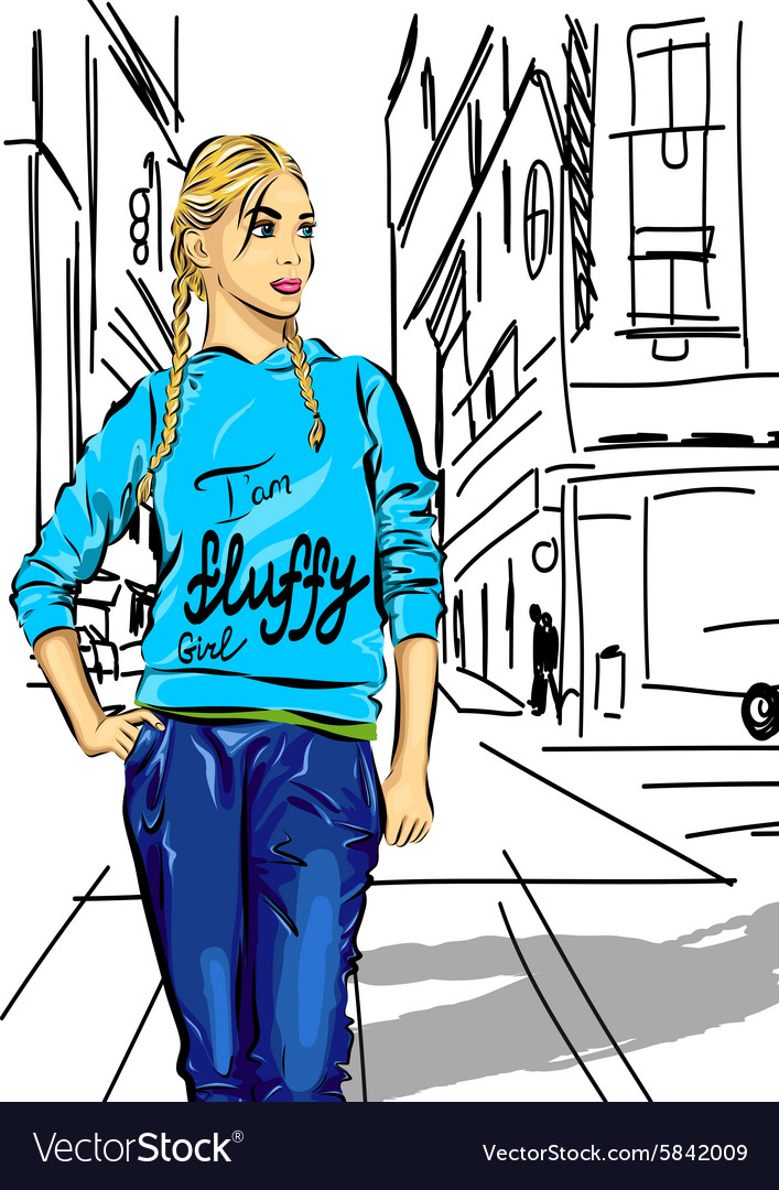 Sexy fashion girl in sketch style on a city