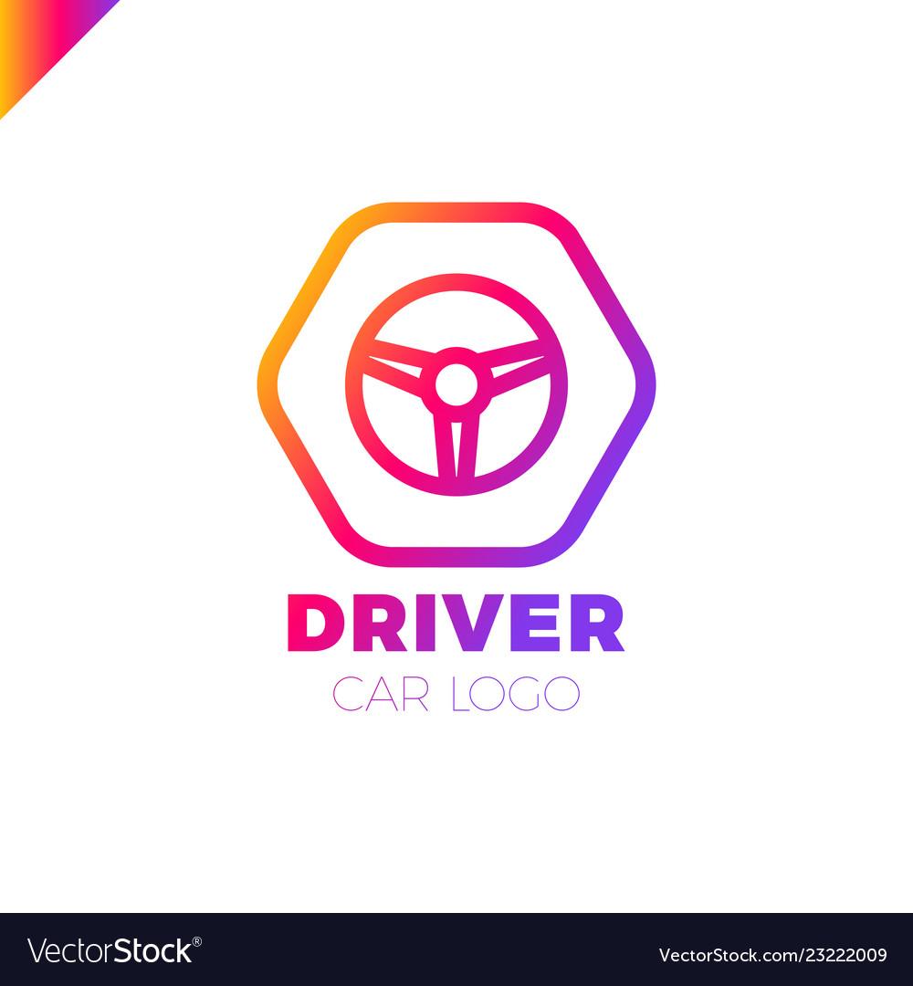 Steering wheel in hexagon icon logotype driver