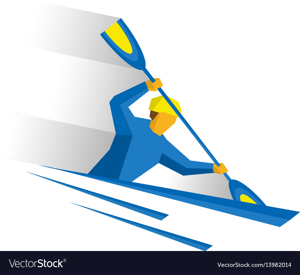 Canoe slalom rower with paddle in boat