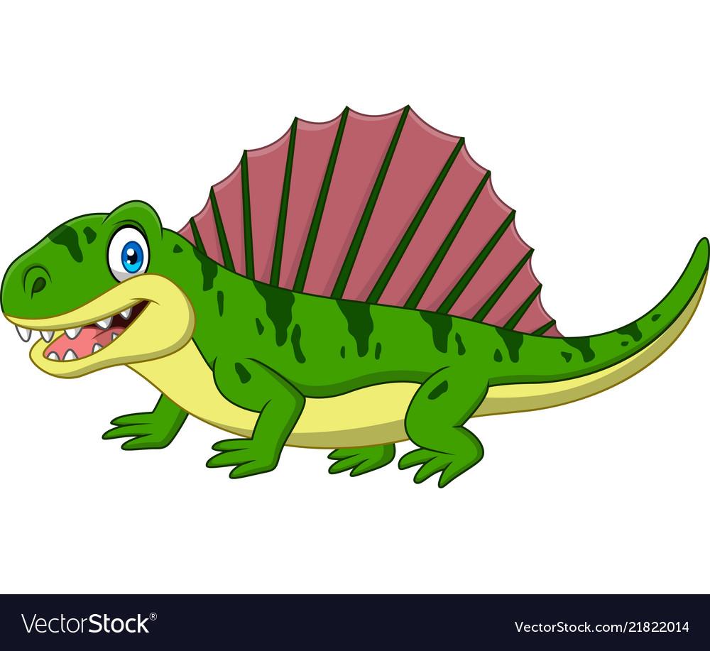 Cartoon smiling dimetrodon isolated