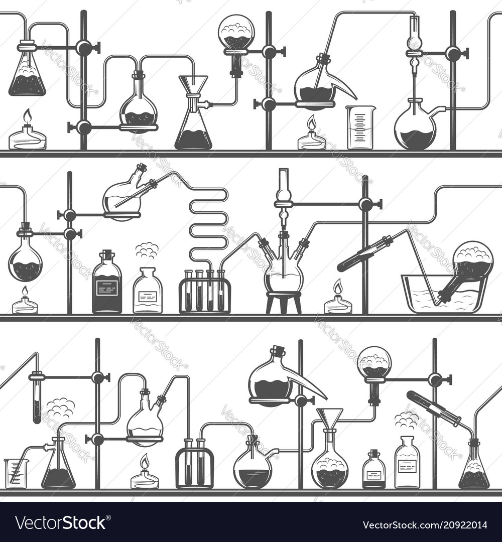 Chemistry seamless pattern with formulas and