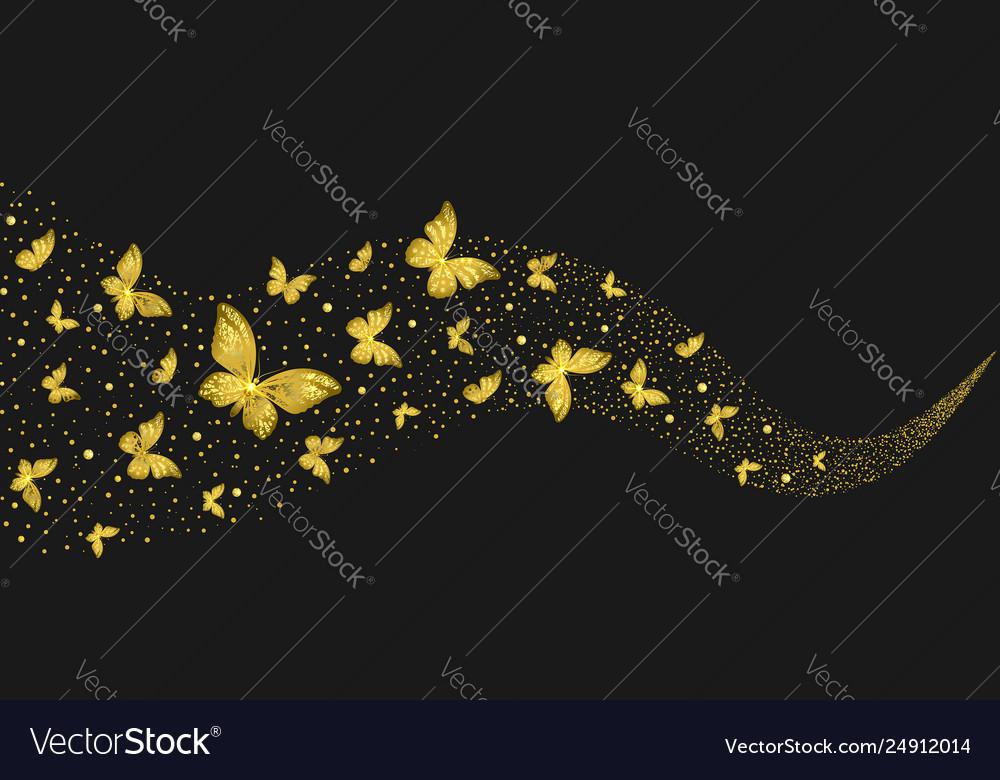 Decorative golden butterflies in stream