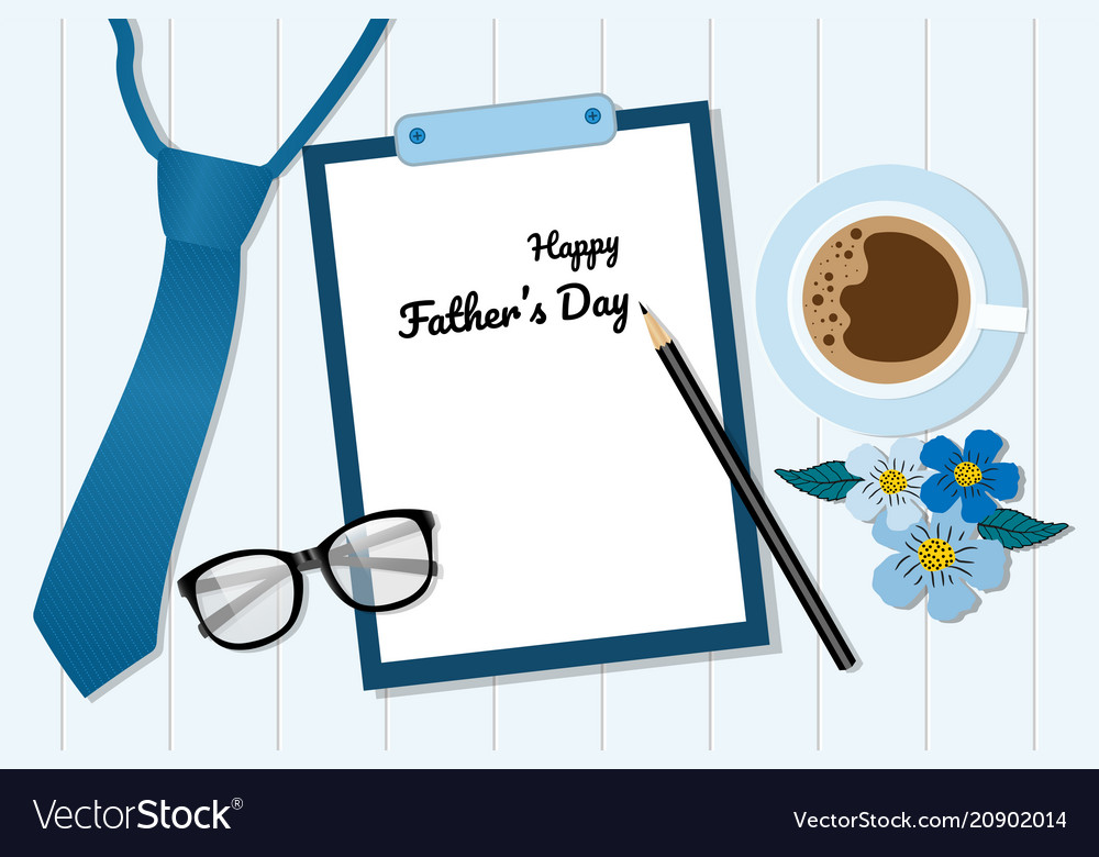 Flat lay style fathers day card banner template vector image