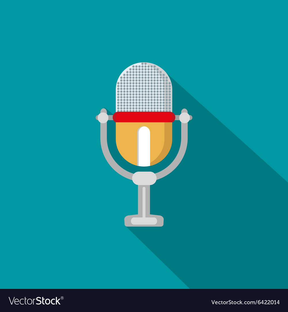 Flat modern design with shadow icon microphone
