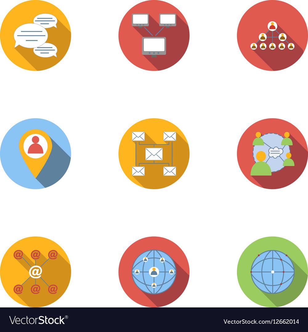 Internet icons set flat style