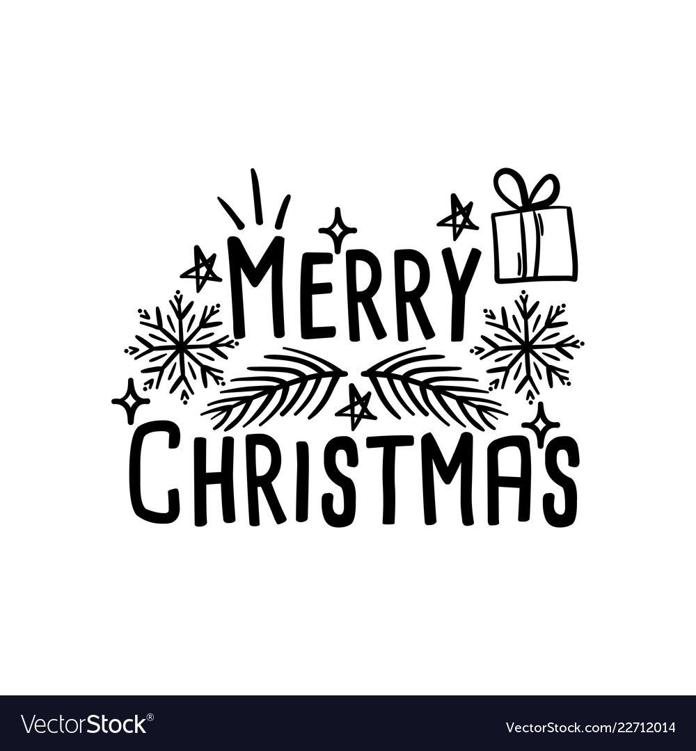 Merry christmas lettering typographic card