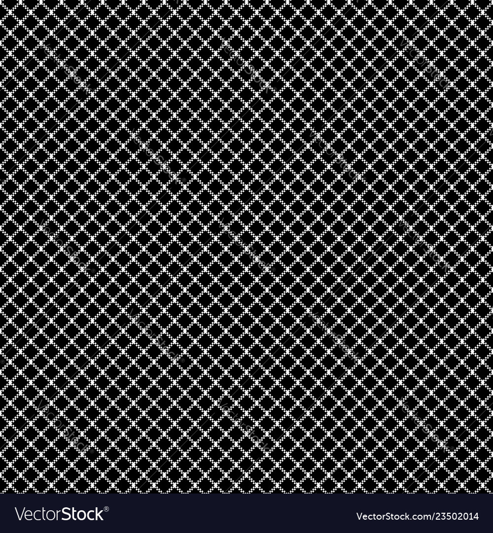 Mesh pixel ornament black seamless pattern