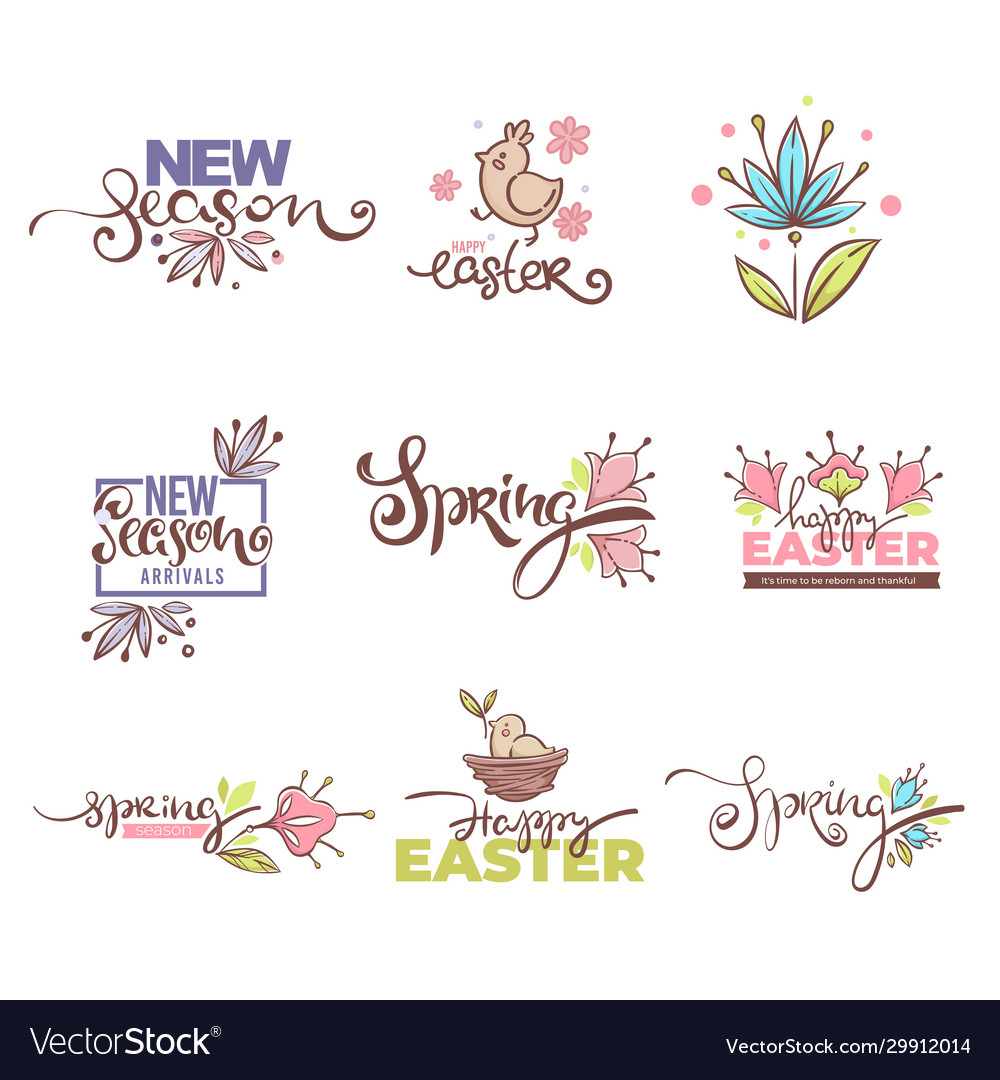 New season arrivals easter logo spring sympols vector