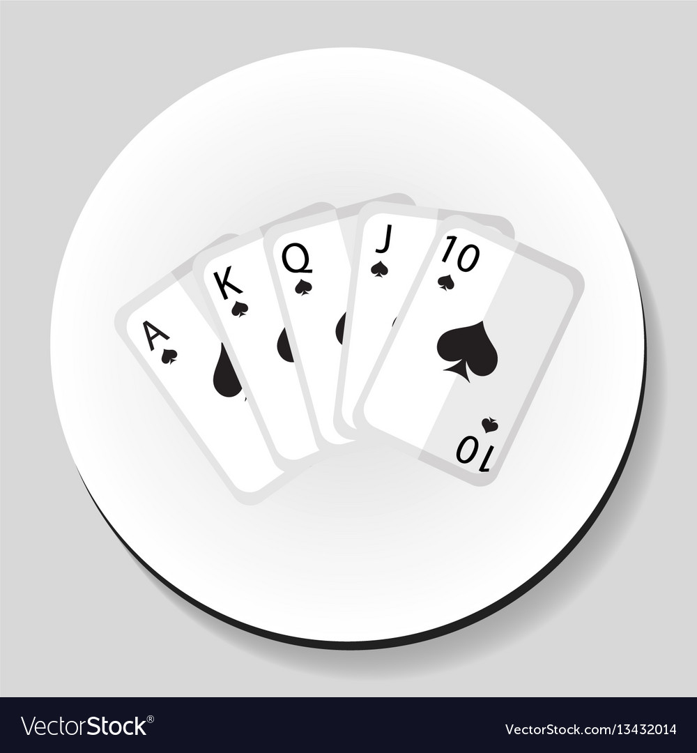 Playing cards pocker royal flash combination vector image