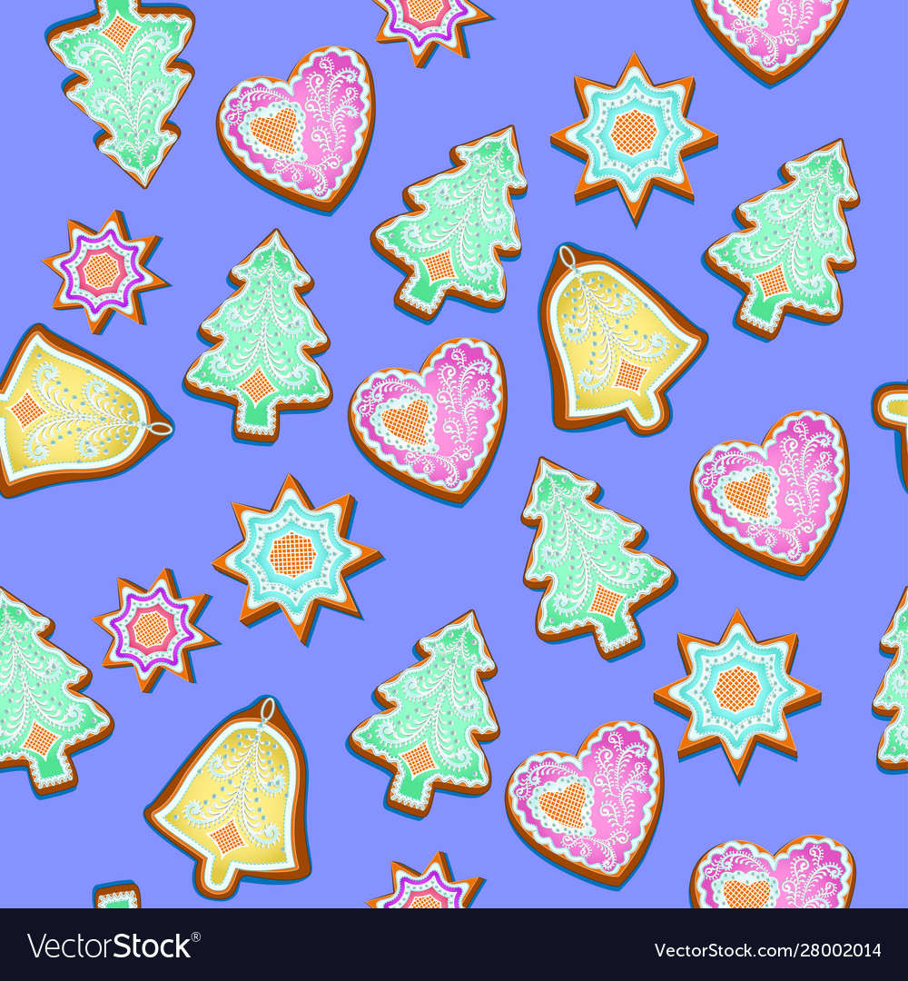 Seamless pattern with christmas gingerbread