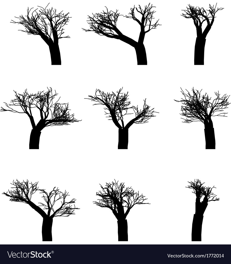 Set of winter trees without leaves silhouettes