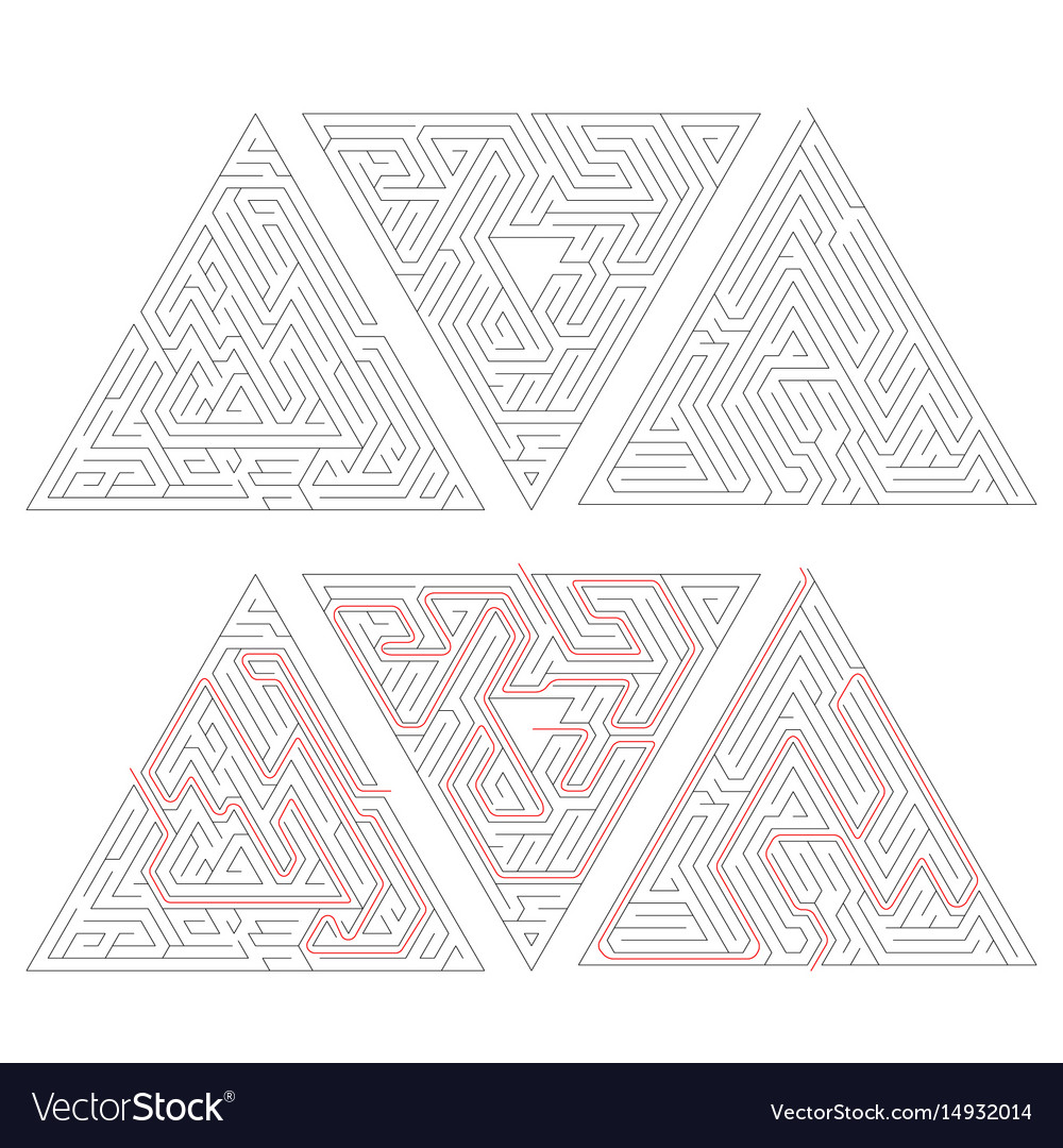 Three complicated triangle labyrinths with red