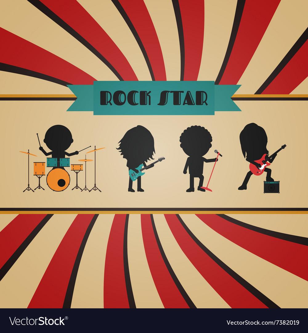 198retro rock band vector image