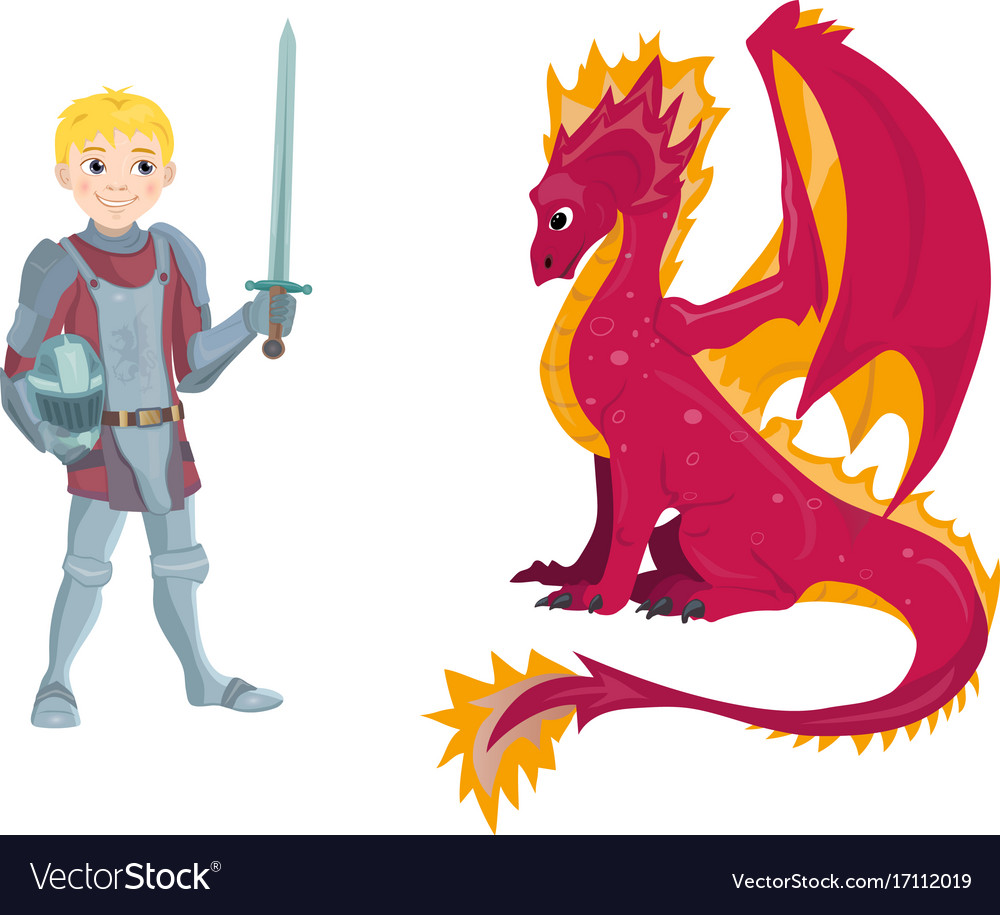A cartoon dragon and young knight character in his