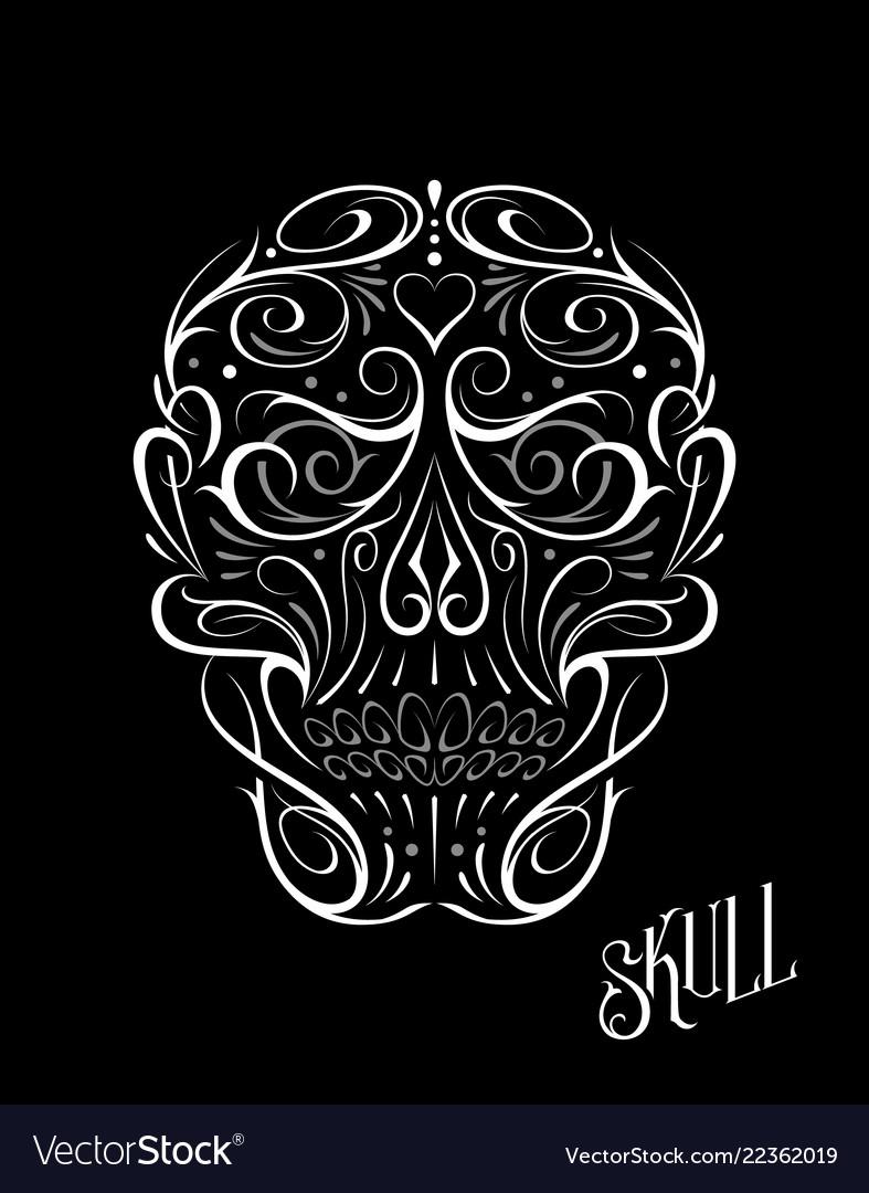 Abstract skull shape white pattern