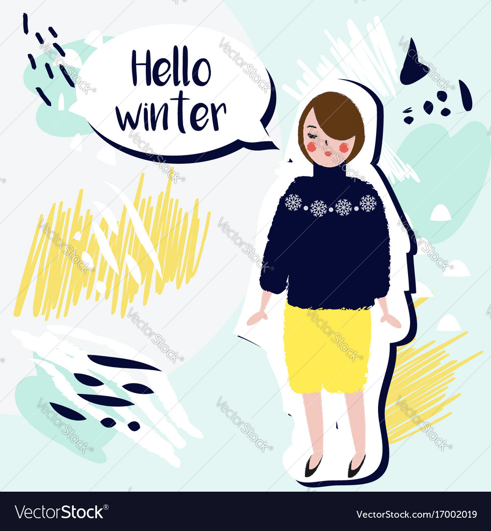 Hello winter creative card fashionable girl in