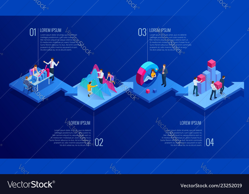 Isometric presentation business infographics