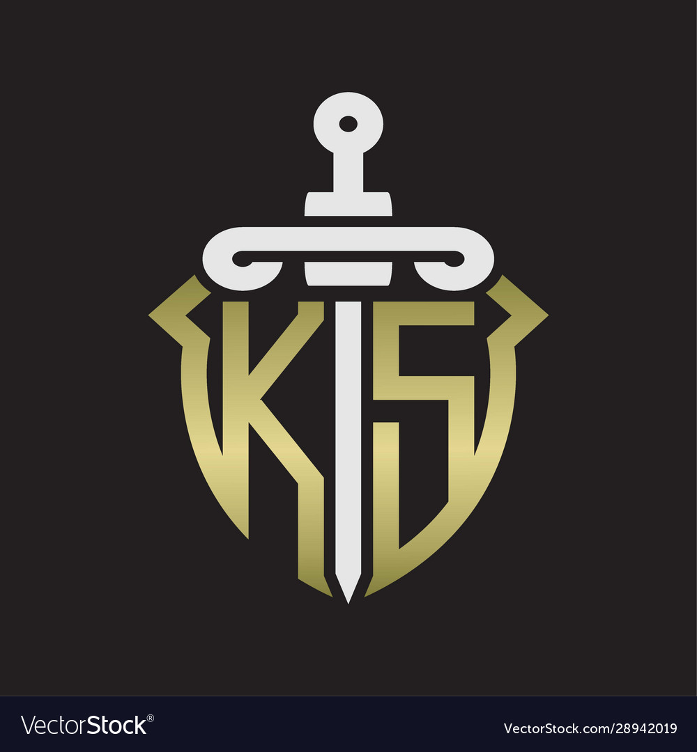 ks logo monogram with sword and shield royalty free vector vectorstock