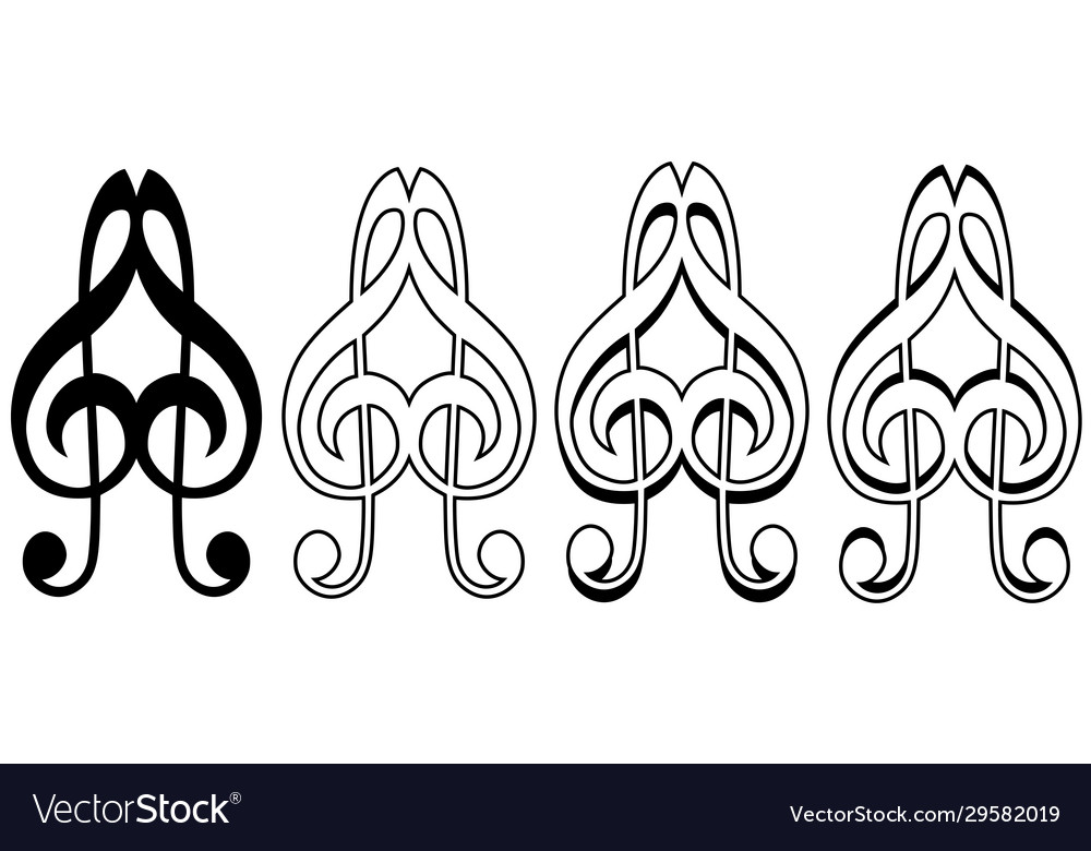 Logo musical love sign icon two treble keys form a