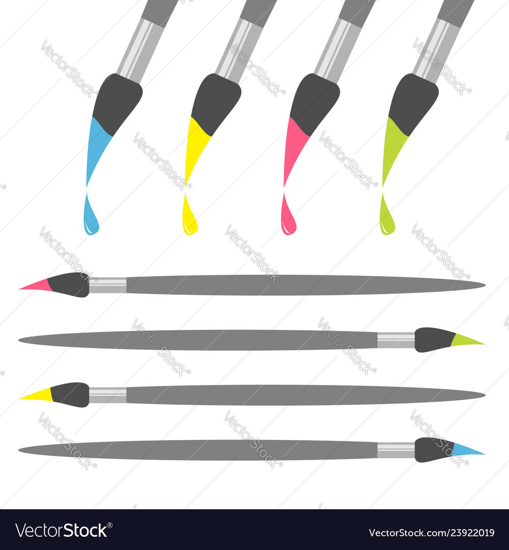 Paint brush icon set pink yellow blue green color