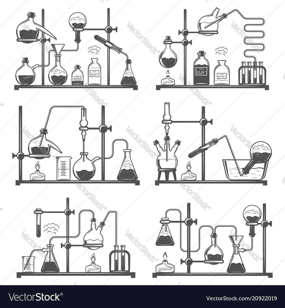 Set of monochrome laboratory research elements
