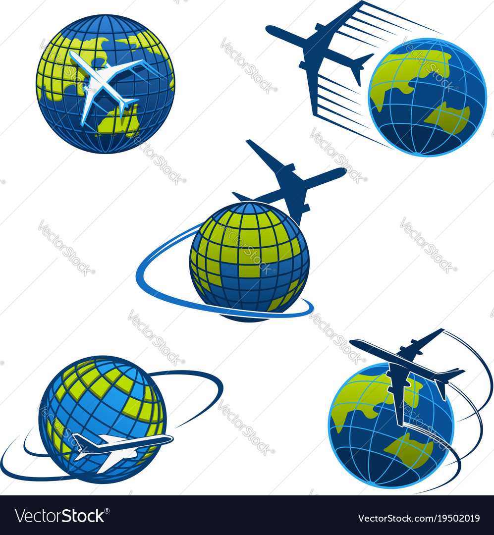 Travel agency icons plane and world globe vector image