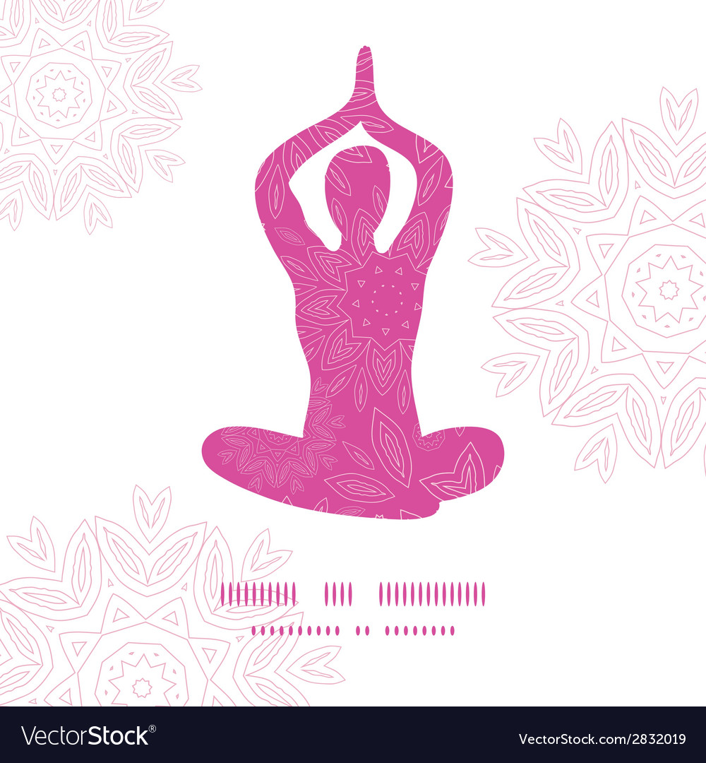 Woman in lotus yoga pose silhouette pink flowers vector image mightylinksfo