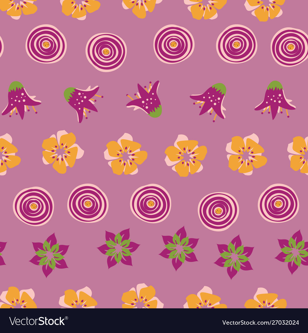 Abstract summer flowers on a pink background