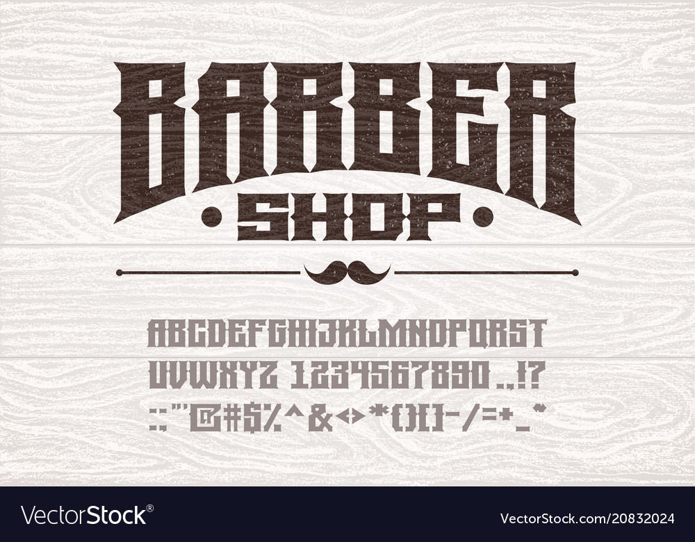 Decorative vintage bold serif font on the vector image