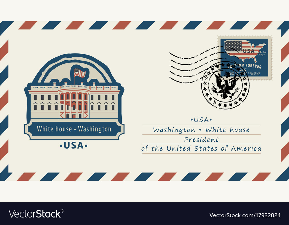 Envelope with white house and american flag