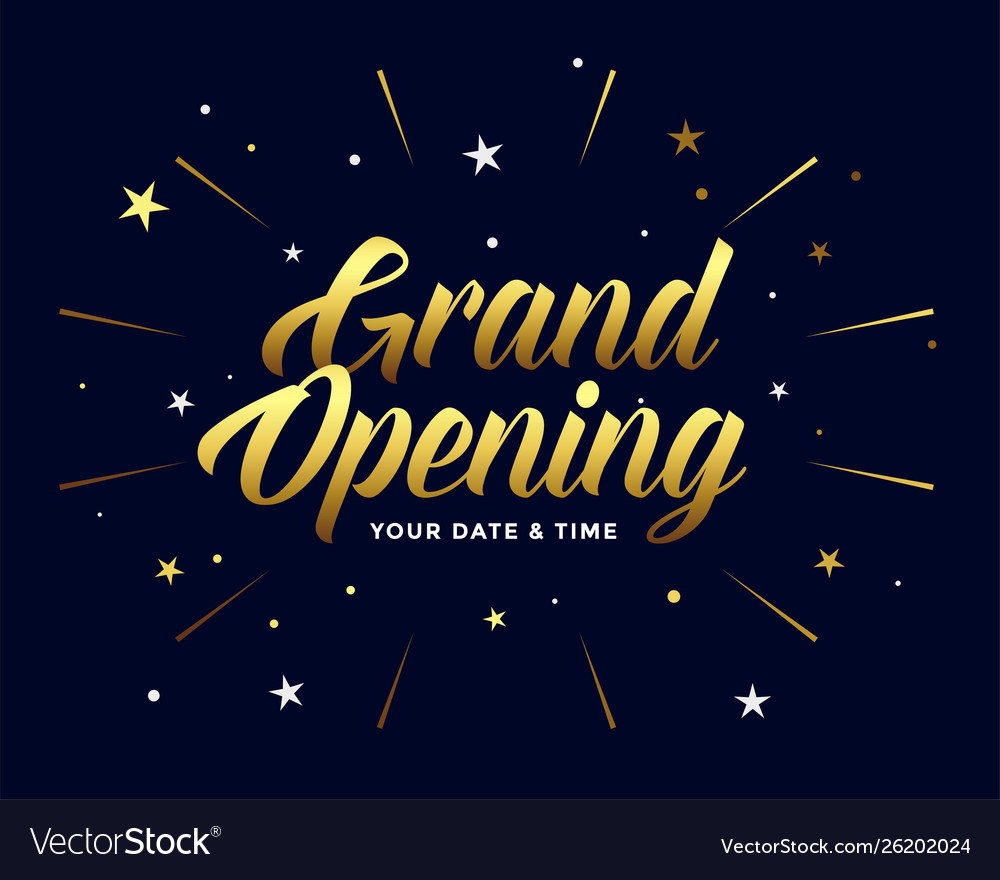 Grand opening ceremony flyer in golden style