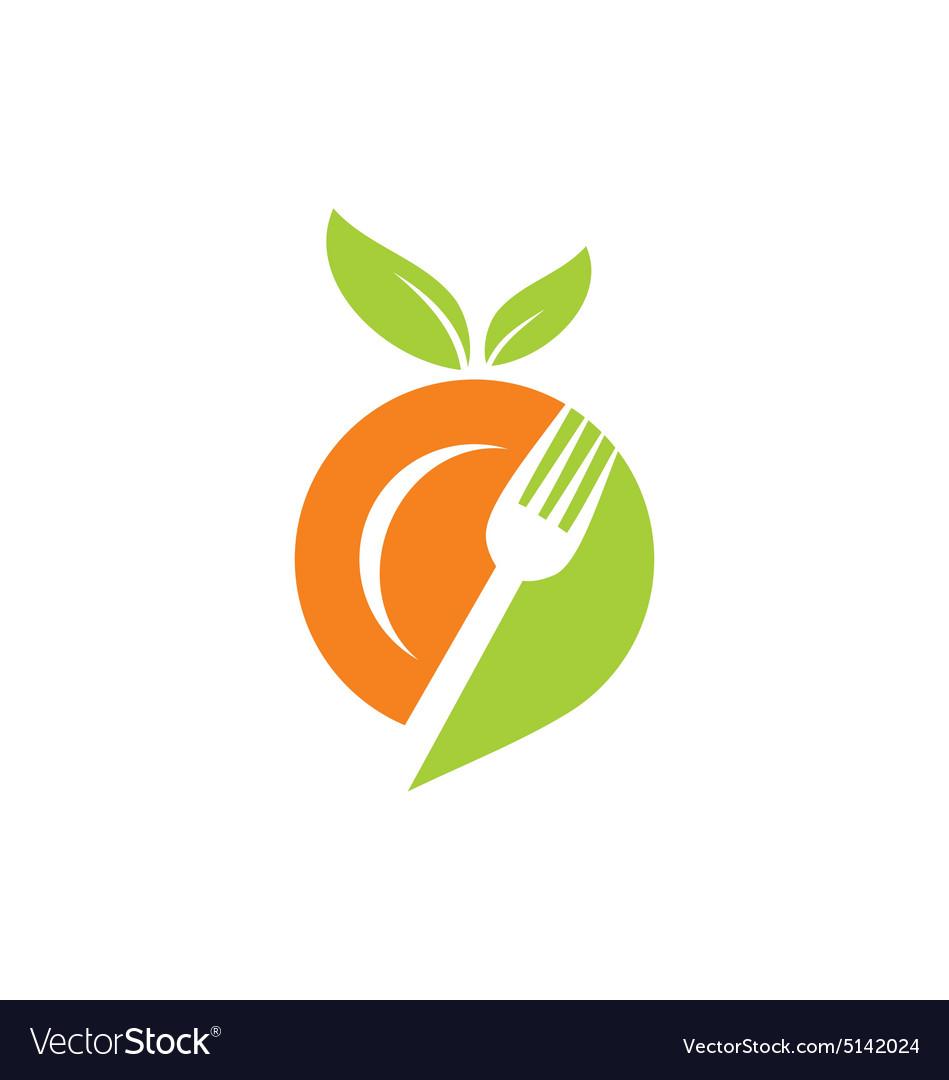 Plate food leaf vegetarian logo