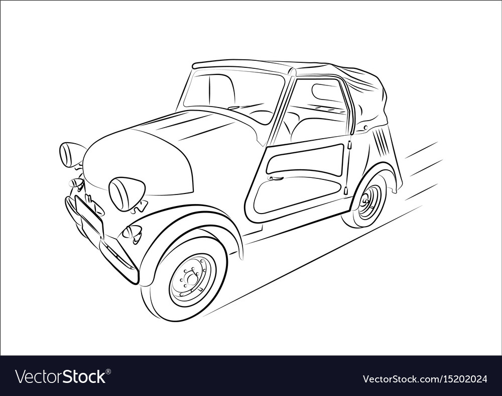 Sketch of a retro car on a white background