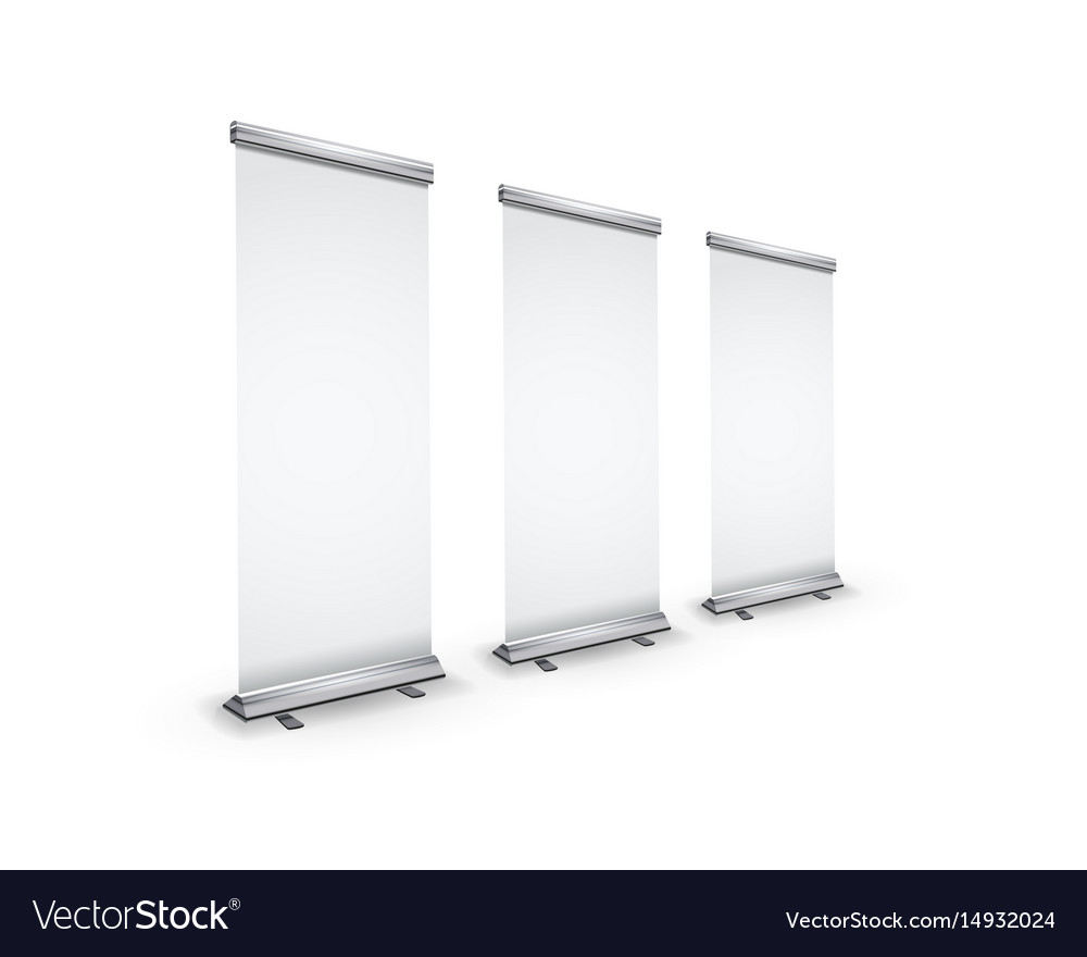 Three blank realistic roll-up banners with shadow