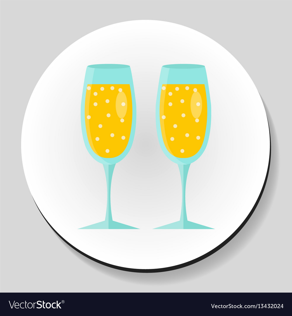 Two glasses of champagne sticker icon flat style
