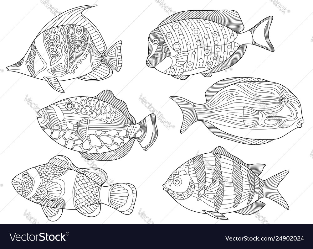 Underwater tropical fishes coloring page set
