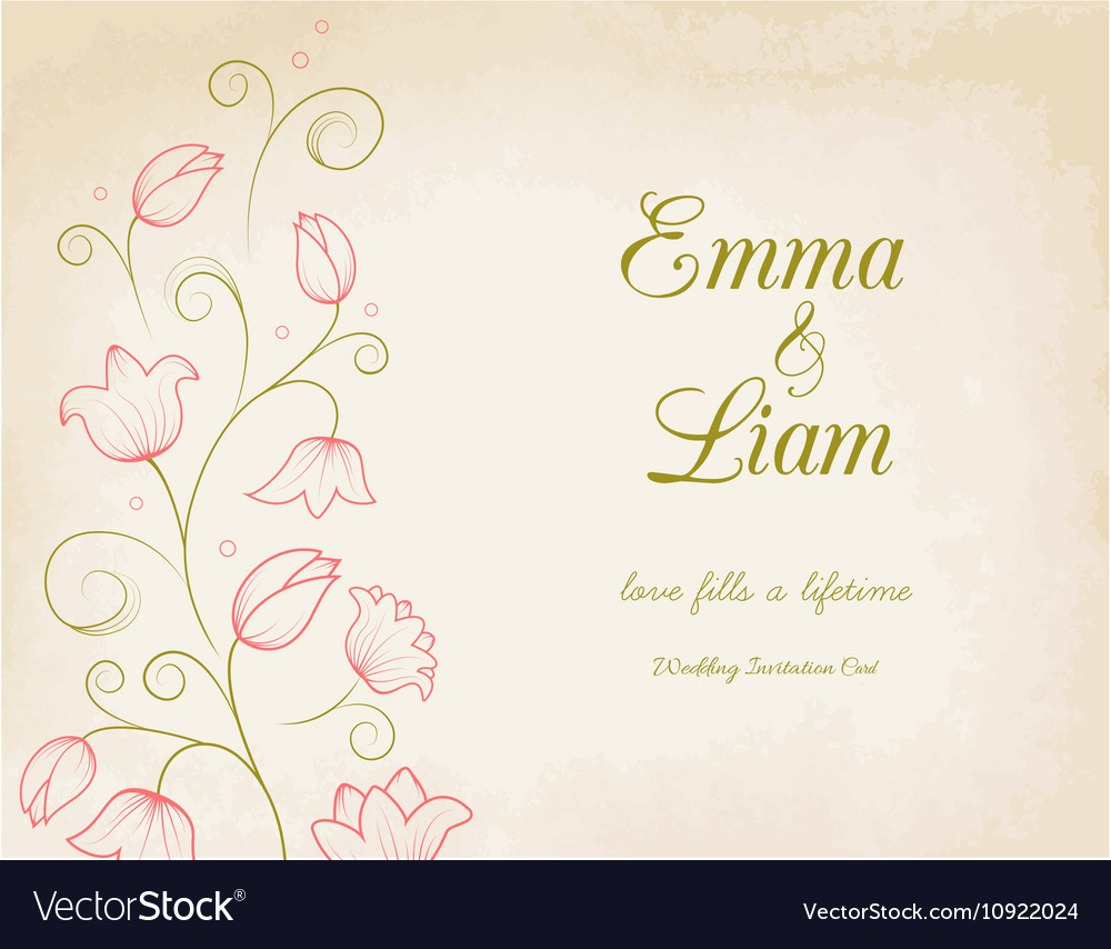 Wedding invitation card with pink lily flowers