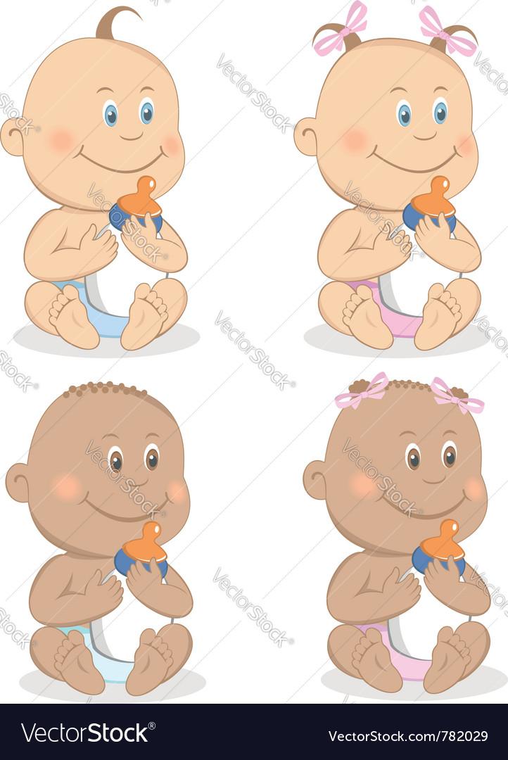 Babies boy and girl mascot vector image
