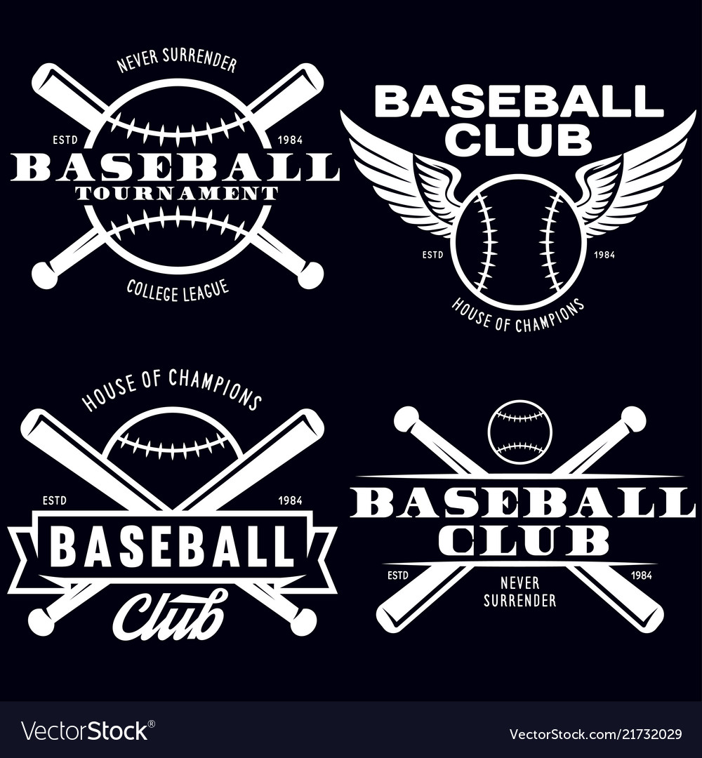 Baseball labels badges logos set national