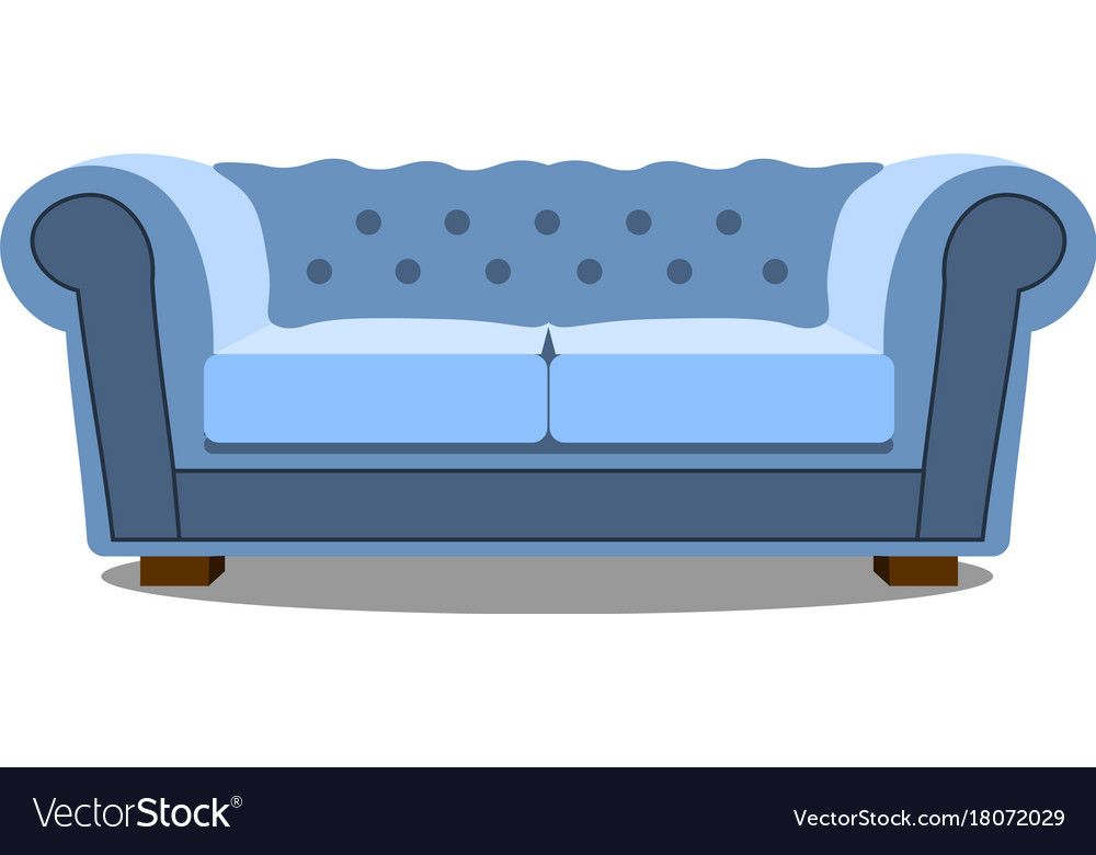 Blue sofa on white icon realistic modern
