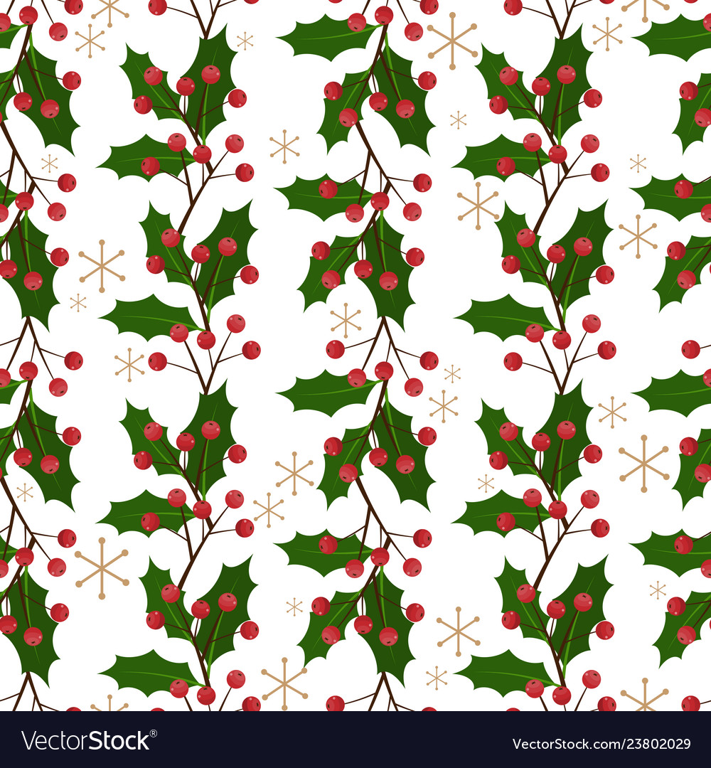 Christmas holly leaves and berries ornate