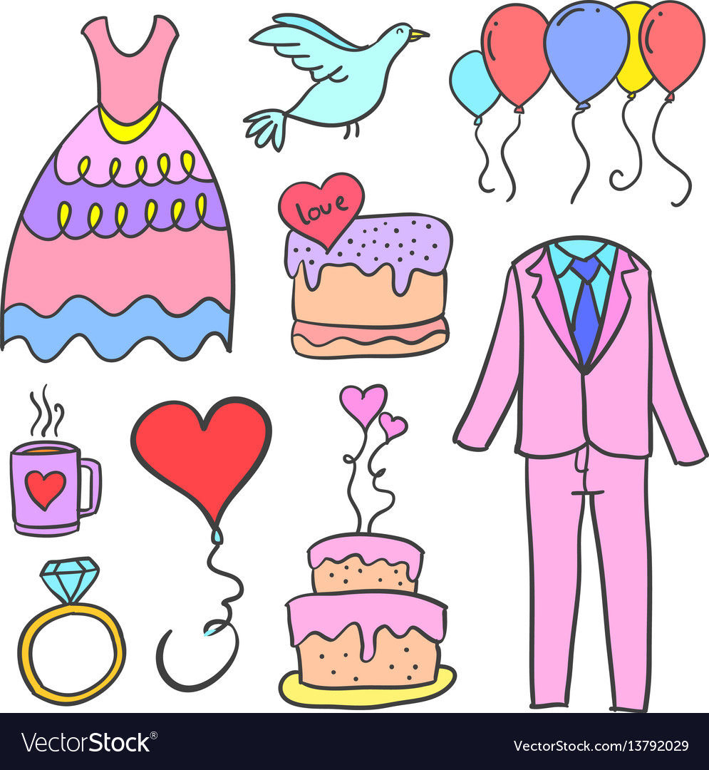 Collection of wedding element doodles style vector image