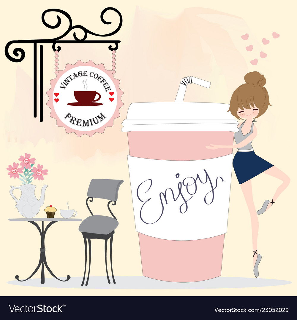 0534855817e Cute girl cartoon in pink coffee shop Royalty Free Vector