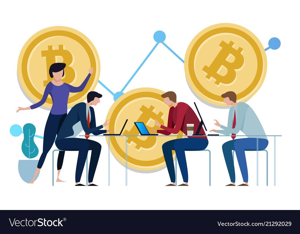 Golden bitcoins chart up background graph the
